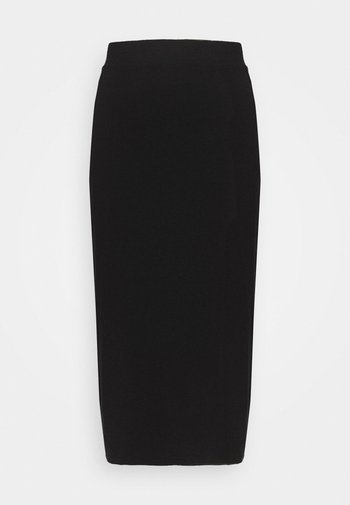 Midi high slit high waisted skirt - Pencil skirt - black
