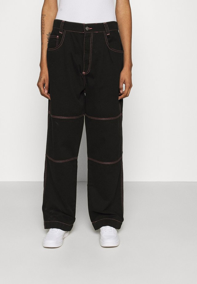DRILL TROUSER WITH TOPSTITCH - Trousers - black