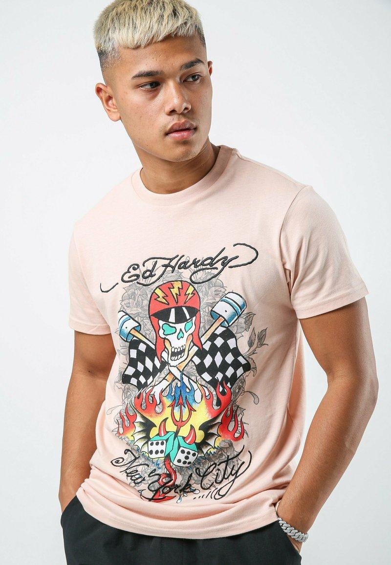Ed Hardy - SKULL-RACER T-SHIRT - Print T-shirt - dusty pink