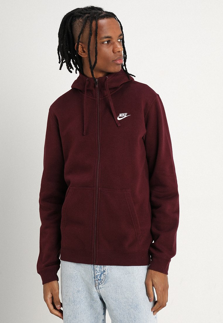 Nike Sportswear - CLUB FULL ZIP HOODIE - Zip-up hoodie - dark red