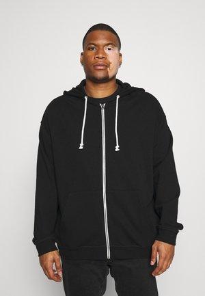 SET - Zip-up hoodie - black/mottled grey