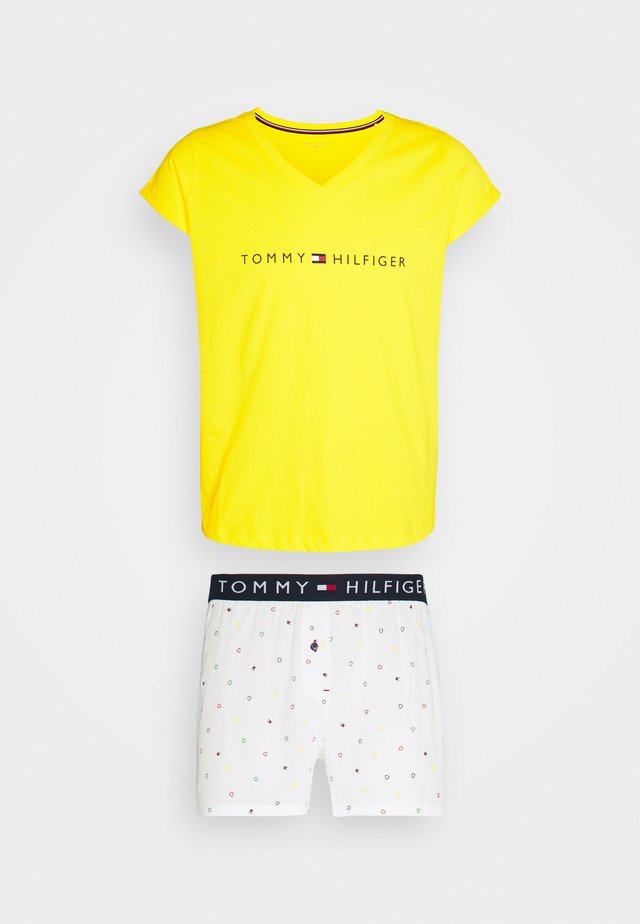 SHORT SET - Piżama - neon yellow/white