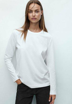 MIT RUNDHALSKRAGEN - Long sleeved top - beige