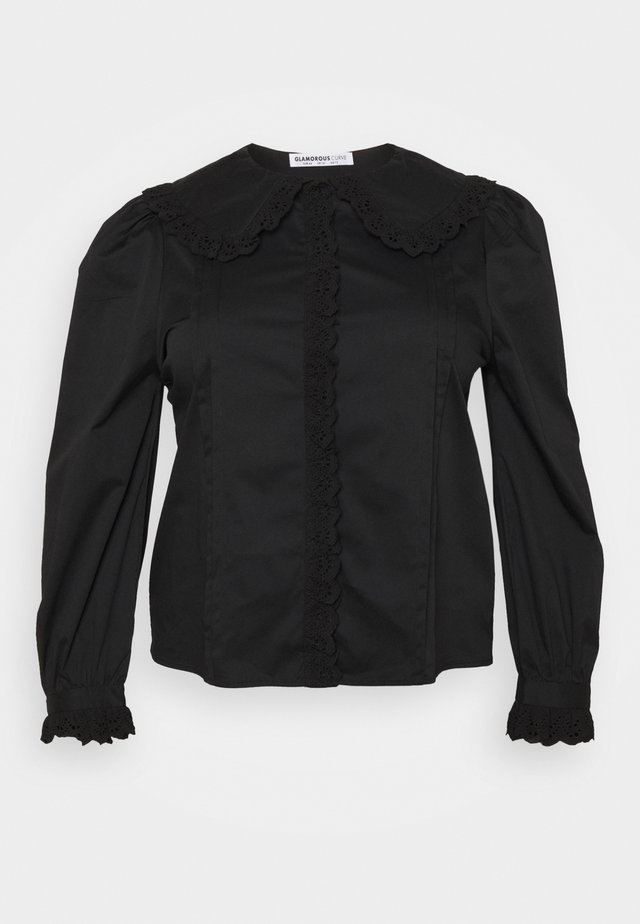 TRIM VINTAGE BLOUSE WITH LONG SLEEVES - Blouse - black