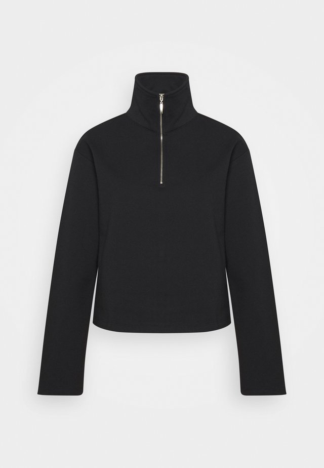 HALF ZIP UP - Mikina - black
