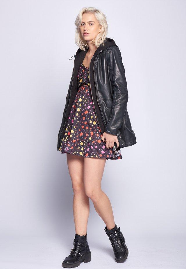 MIT KAPUZE  - Leather jacket - anthracite