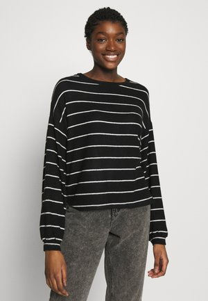 BRUSHED STRIPE CREW NECK - Jersey de punto - black