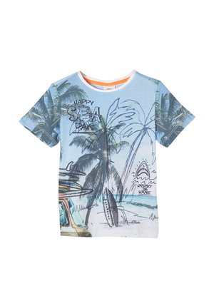 Print T-shirt - light blue aop