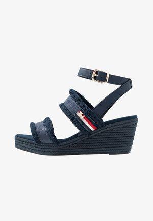 FRINGES MID WEDGE  - Platform sandals - sport navy