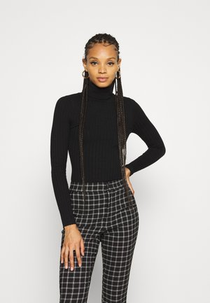 BODYSUIT- TURTLE NECK RIBBED - Strikkegenser - black