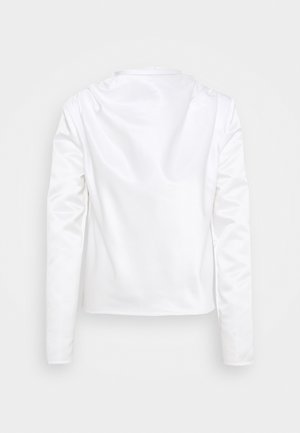 DRAPE NECK SHOULDER BLOUSE - Blouse - white