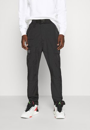RETRO  PANTS CRINKLE - Cargobukser - black
