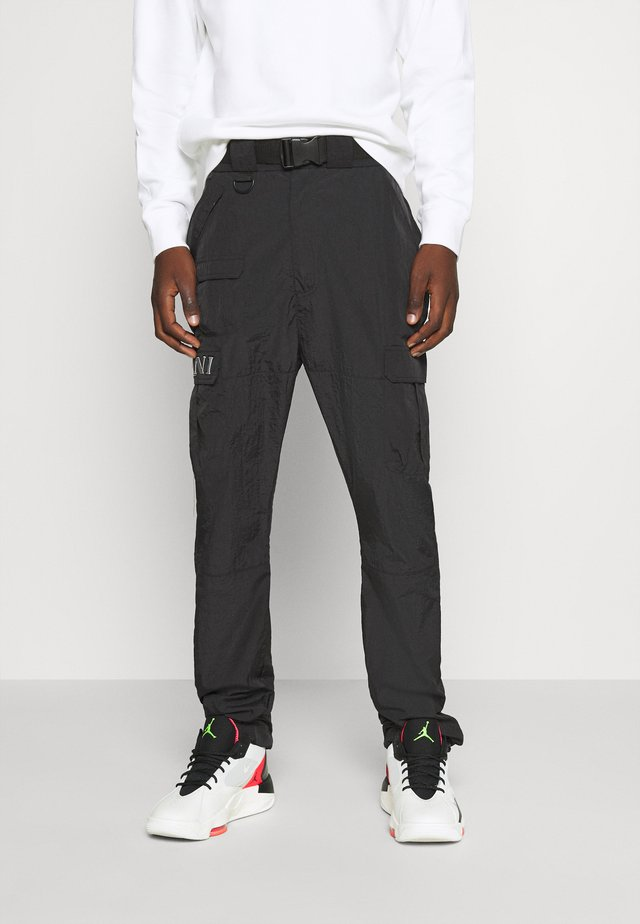 RETRO  PANTS CRINKLE - Cargo trousers - black