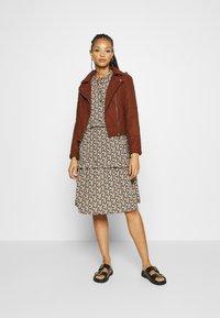 JDY - Faux leather jacket - cherry mahogany - 1