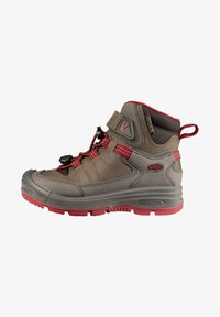 Keen - REDWOOD MID WP - Lace-up ankle boots - steel grey/red dahlia - 0