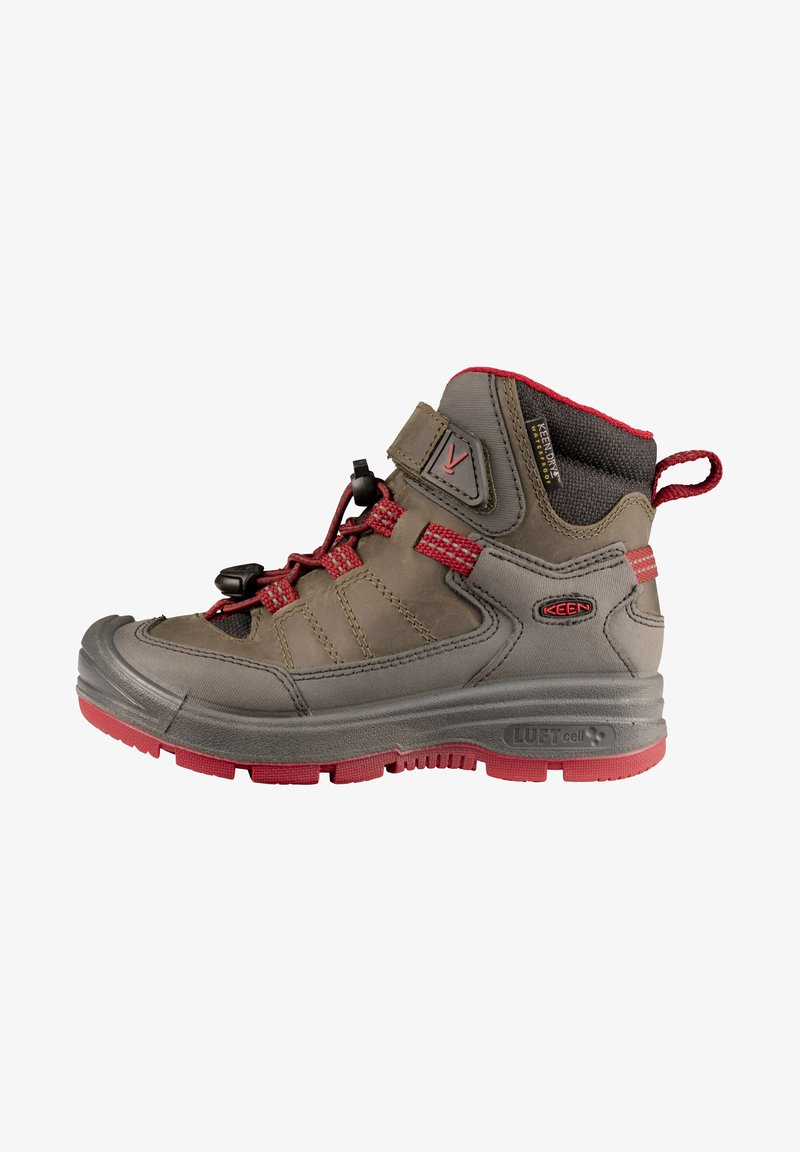 Keen - REDWOOD MID WP - Lace-up ankle boots - steel grey/red dahlia