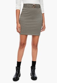 Q/S designed by - MET RIEM - Pencil skirt - dusty brown check - 0