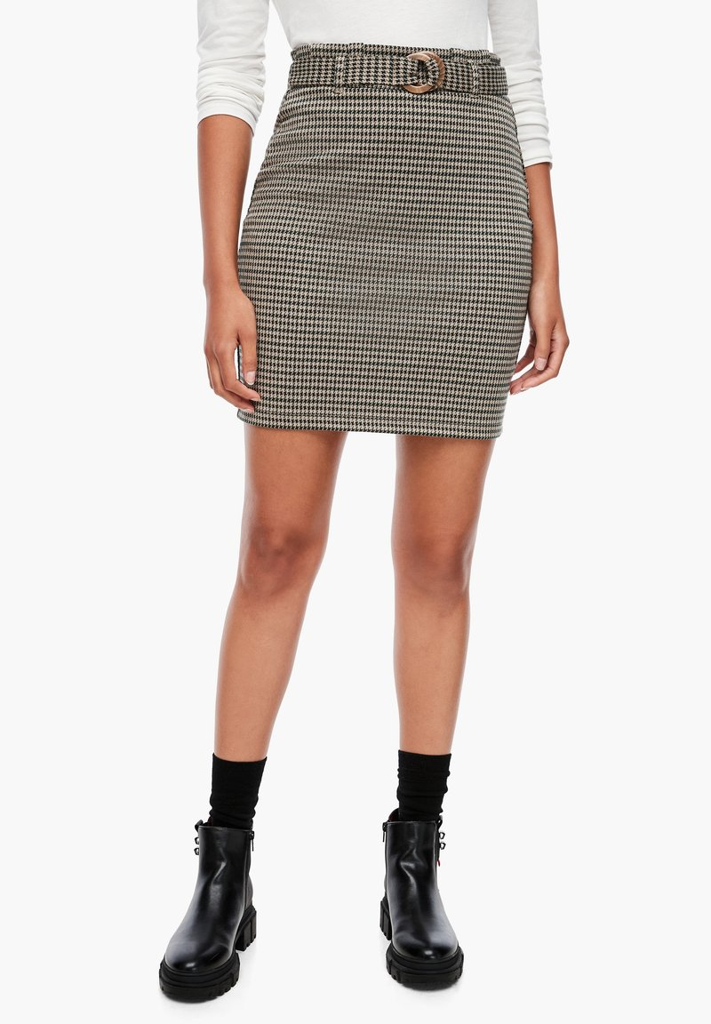 Q/S designed by - MET RIEM - Pencil skirt - dusty brown check