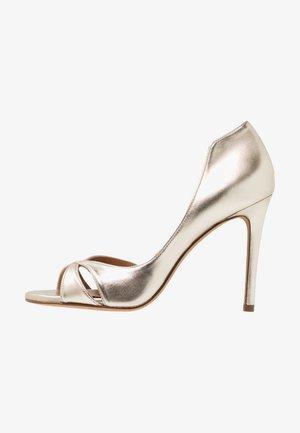 Højhælede peep-toes - platin