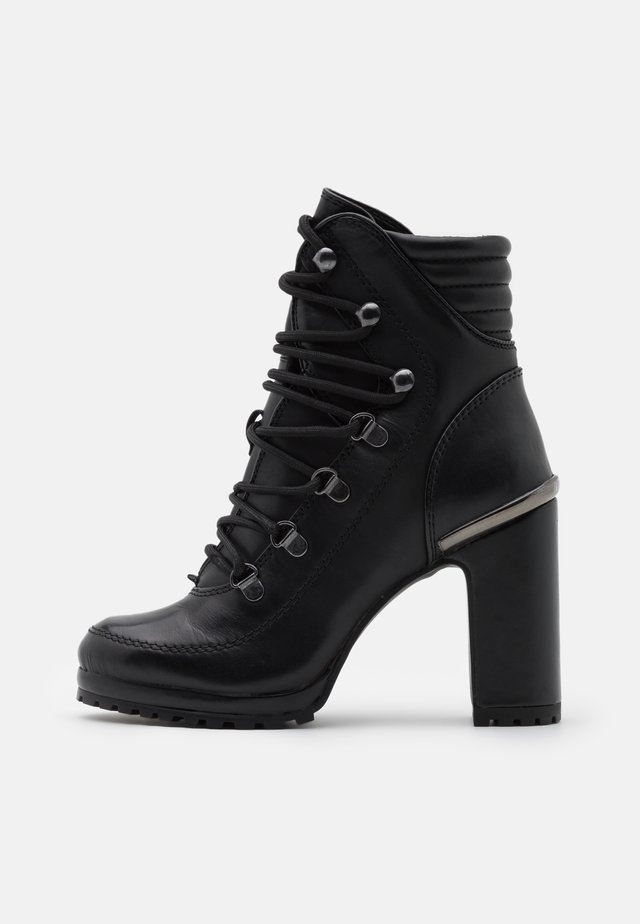 LENNI LACE UP - High heeled ankle boots - black