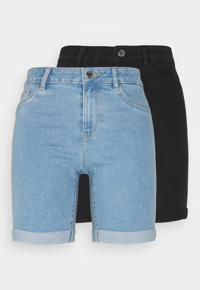 ONLSUNANNEK MIDLONGSHORTS 2 PACK - Shorts di jeans - light blue denim
