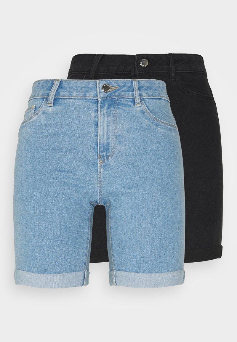 ONLY Petite - ONLSUNANNEK MIDLONGSHORTS 2 PACK - Shorts di jeans - light blue denim