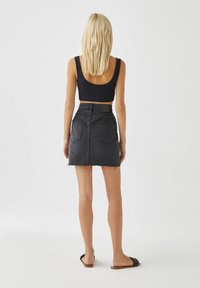 PULL&BEAR - A-line skirt - black denim - 2
