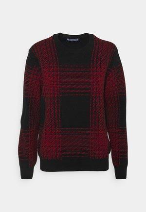 INTARSIA CHECKED - Jumper - black/classic red