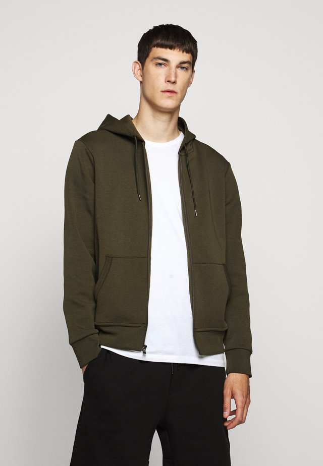 DOUBLE TECH - veste en sweat zippée - company olive