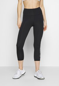 Superdry - TRAINING ESSENTIAL CAPRI - Legginsy - black - 0