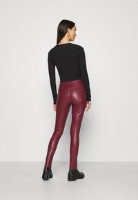 Hollister Co. - Leggings - Trousers - burgundy leather - 2