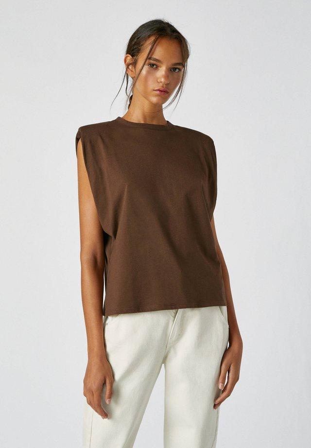MIT SCHULTERPOLSTER - Top - dark brown