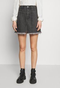Free People - SIDECAR MINI - Denim skirt - black - 0