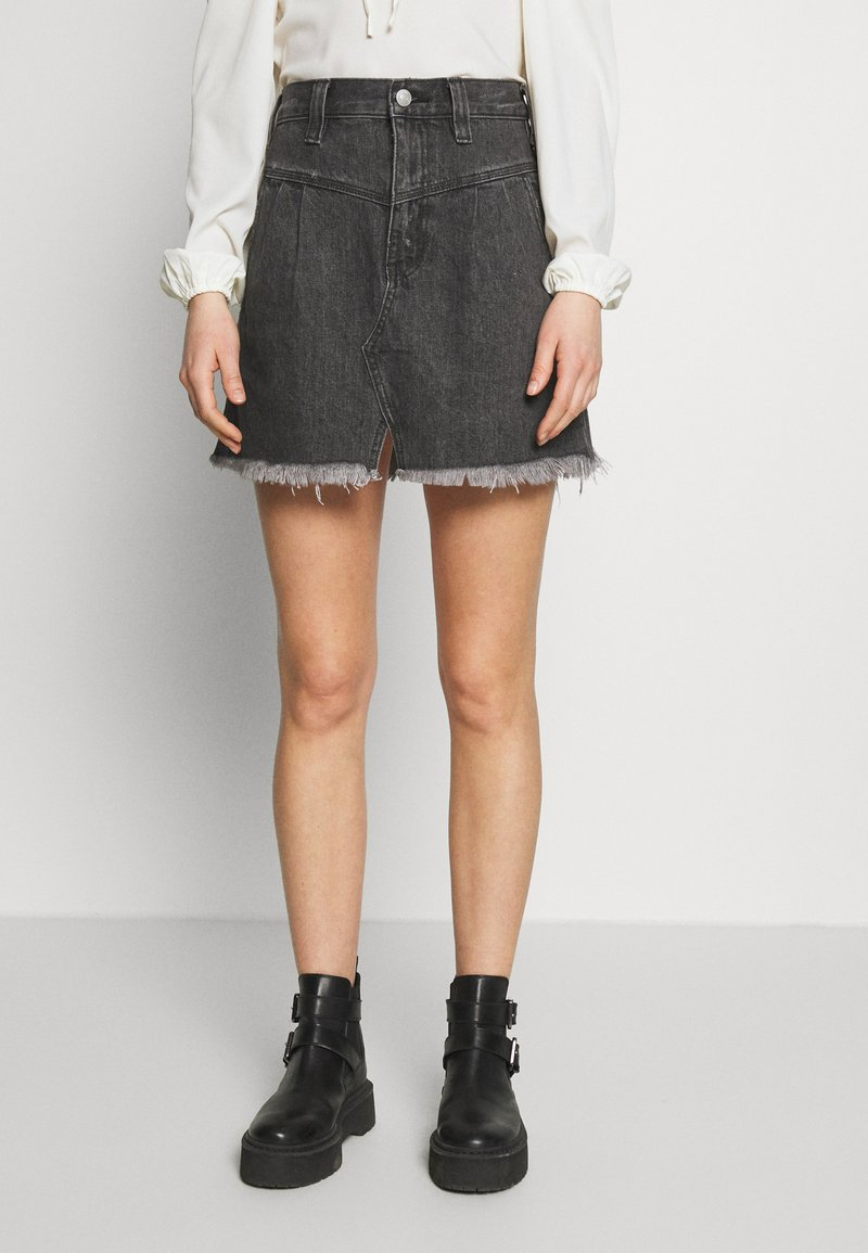 Free People - SIDECAR MINI - Denim skirt - black