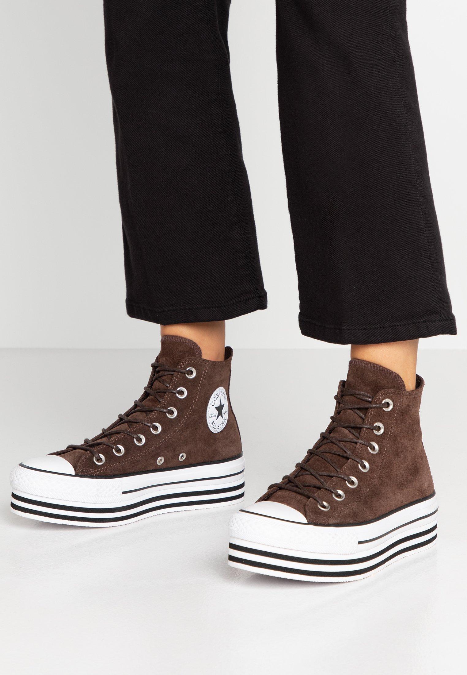 Ny Converse All Star Känga Vintage Läder Höga Brun Skor för