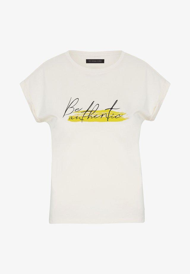 Print T-shirt - white yellow dif