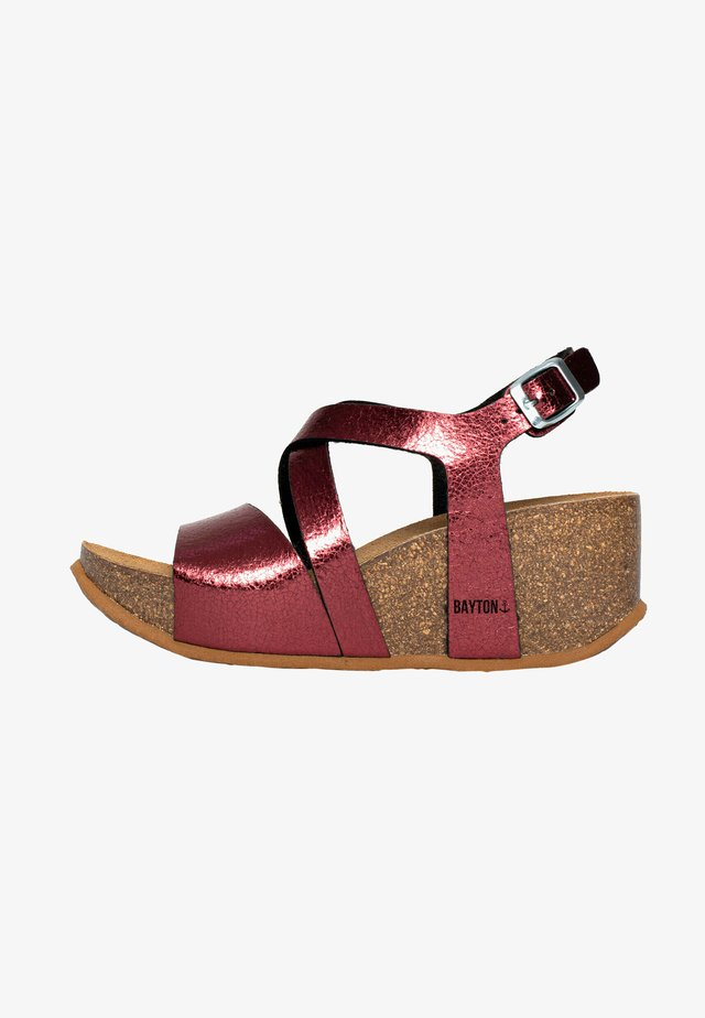 Sandaler m/ kilehæl - bordeaux