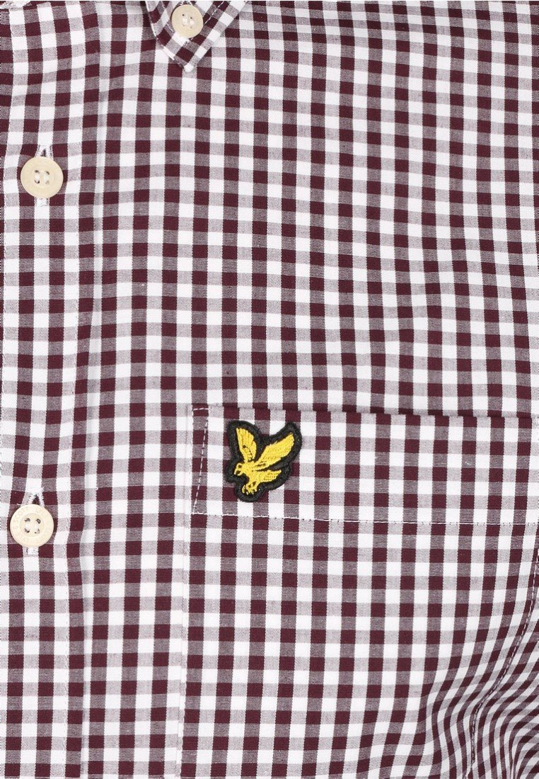 Komfortabel Lyle & Scott SLIM FIT GINGHAM   Skjorter  burgundy / white xoTS0