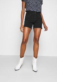 TOM TAILOR DENIM - CAJSA - Denim shorts - used dark stone black denim - 0