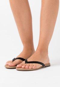 s.Oliver - SLIDES - T-bar sandals - black - 0