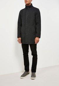 Next - FUNNEL NECK ZIP THROUGH COAT - Short coat - black - 1