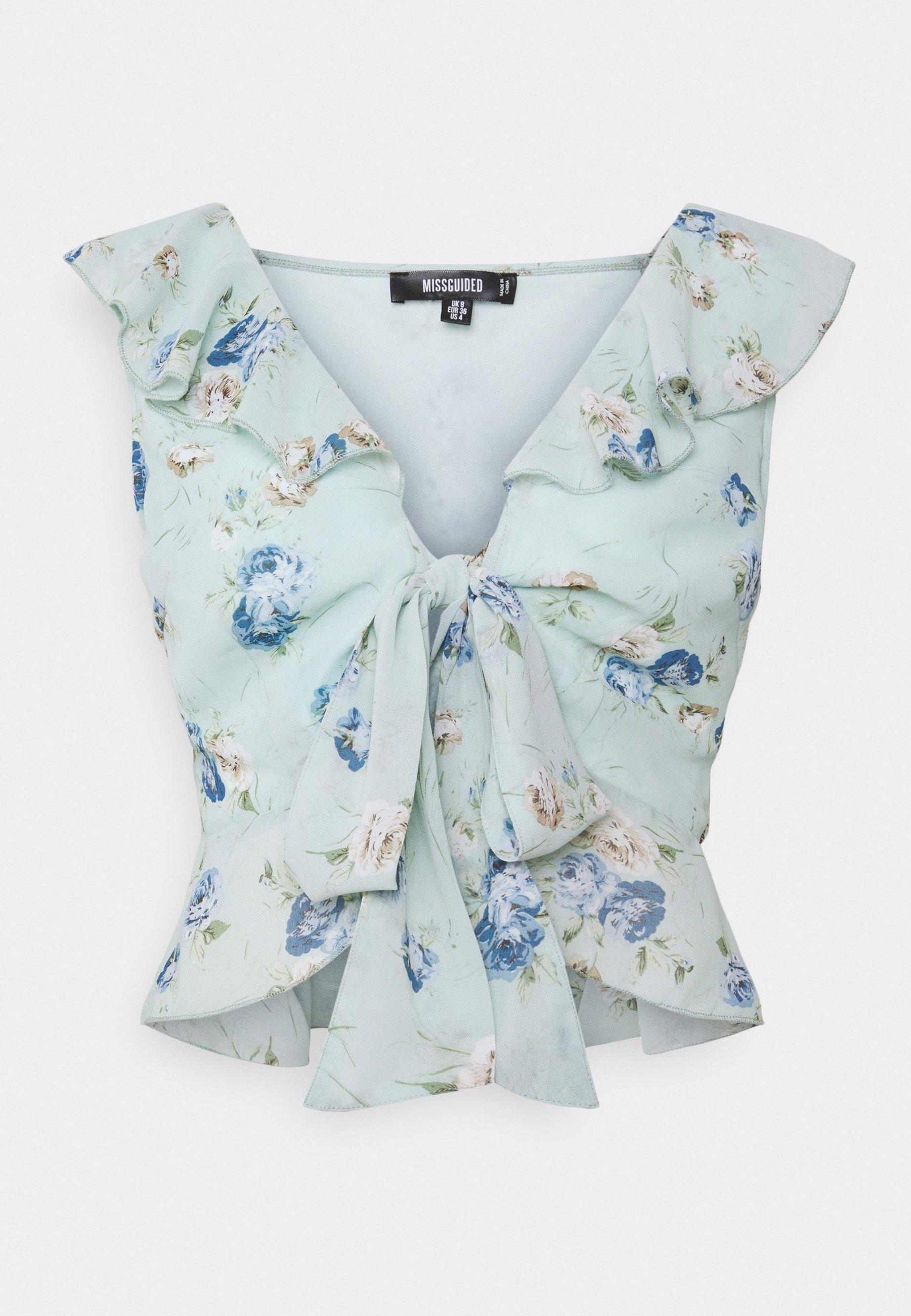 Women FLORAL FRILL DETAIL TIE FRONT  - Print T-shirt