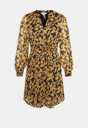 OBJSILJE DRESS - Freizeitkleid - black/honey ginger