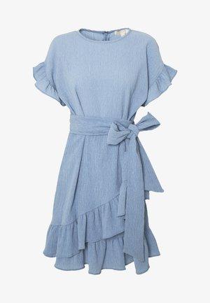 RUFFLE WRAP DRESS - Korte jurk - blue