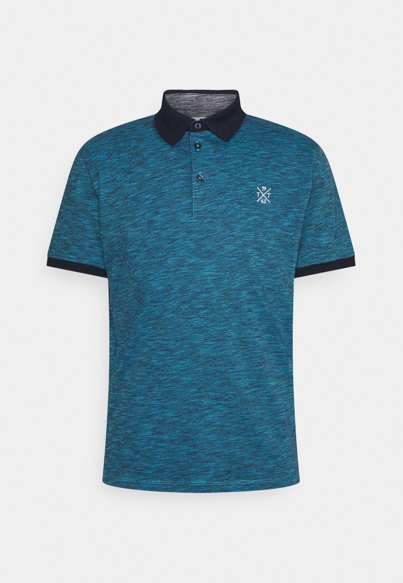 TOM TAILOR - FINE STRIPED WITH DETAILS - Polo shirt - aquarius blue