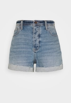 MOM CURVY MED CLEAN  - Denim shorts - blue denim