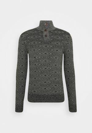TROYER - Neule - black/white/grey mouline