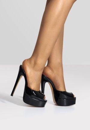 Platform sandals - metallic black