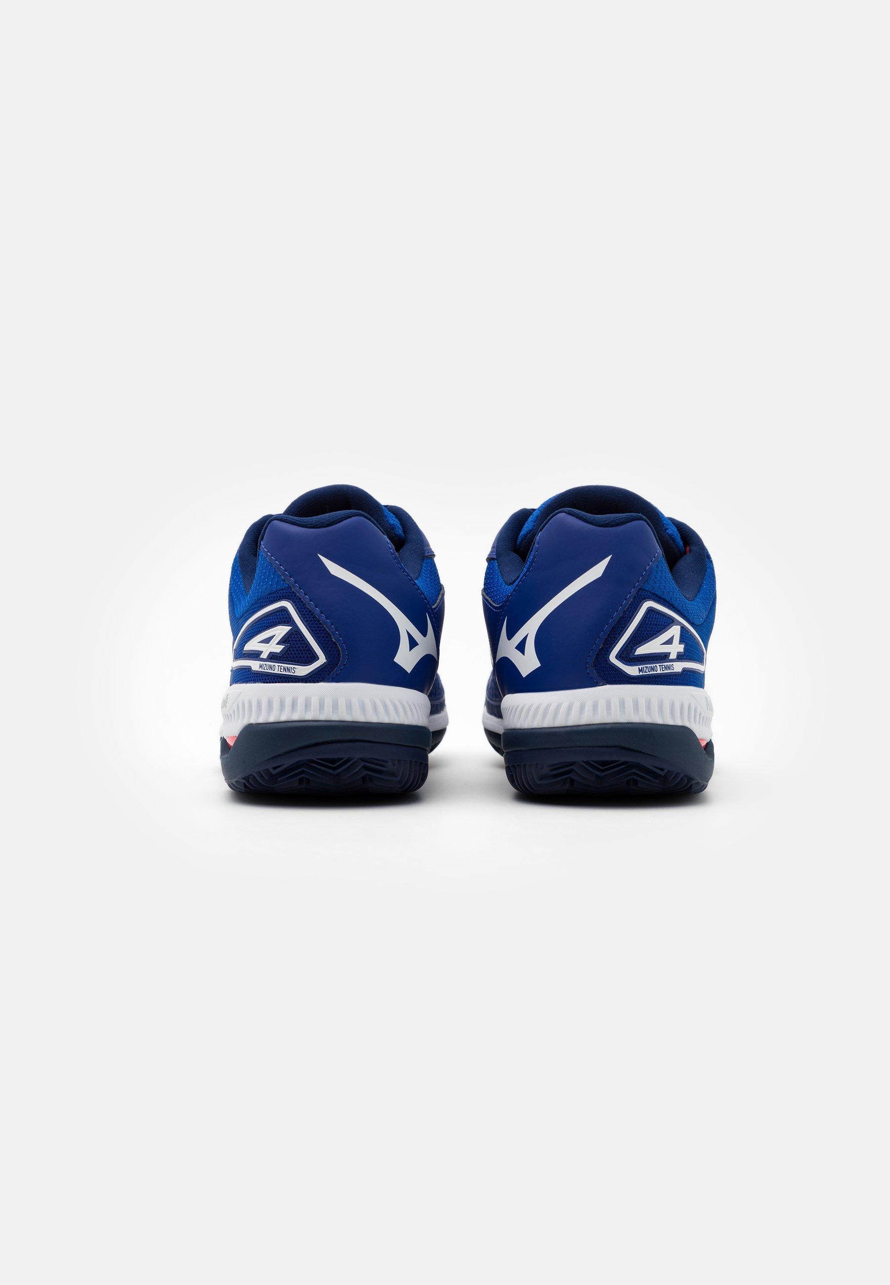 Mizuno WAVE EXCEED TOUR 4 CC - Tennisschuh für Sandplätze - reflex blue/white/diva pink/blau - Herrenschuhe bXMxx