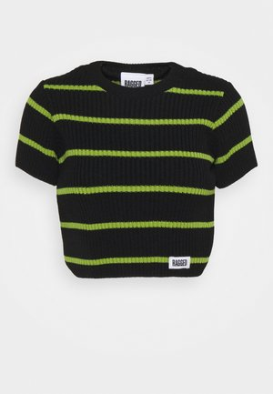 SWING - T-shirts med print - black/lime
